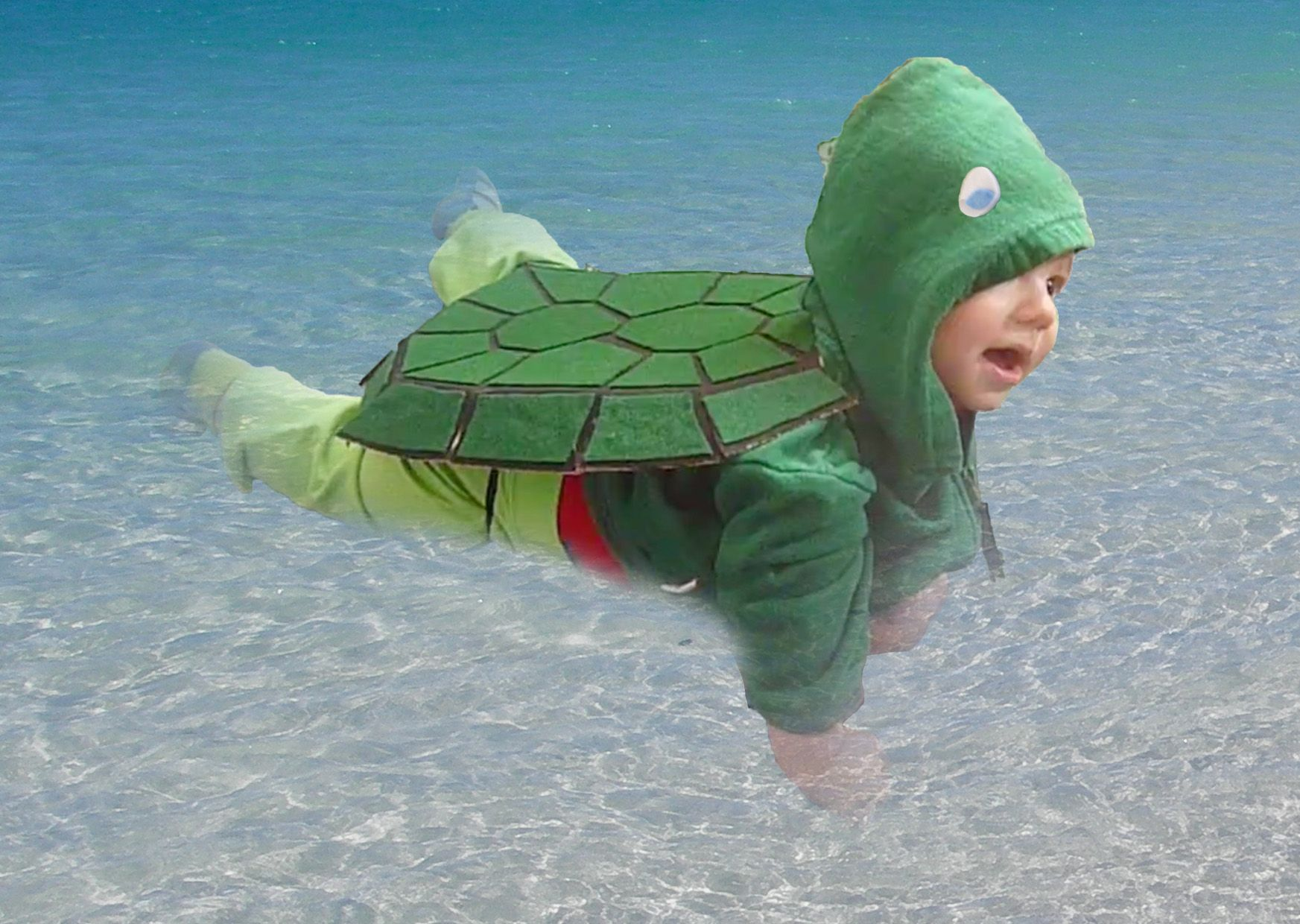 Maximize your baby's pre-crawling cuteness with a turtle costume 🐢